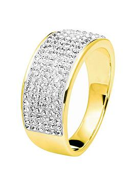 Evoke Gold Plated Sterling Silver Swarovski Crystal Band Ring