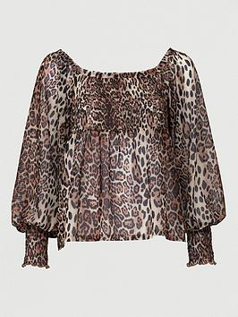 V by Very V By Very Mesh Bardot Ruched Top - Animal Print Picture
