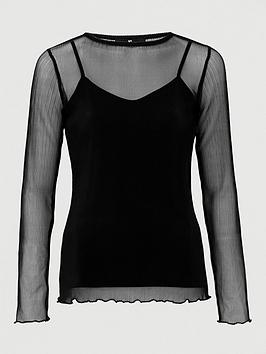 V by Very V By Very Crinkle Mesh Lettuce Hem Top - Black Picture