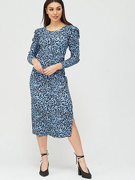 V by Very V By Very Square Neck Ruched Sleeve Midi Dress - Blue Print Picture