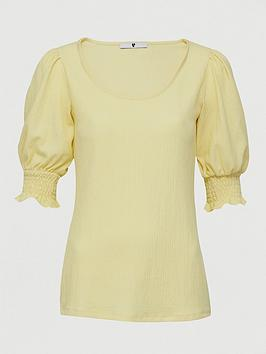 V by Very V By Very Scoop Neck Puff Sleeve Top - Lemon Picture