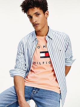 tommy-hilfiger-slim-flex-houndstooth-stripe-shirt-blue
