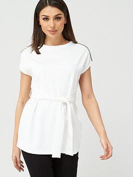 V by Very V By Very Diamante Trim Tie Waist Tunic - White Picture