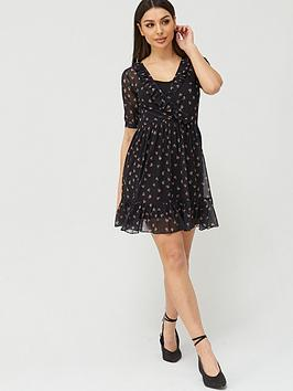 V by Very V By Very Mesh Ruffle Neck Wrap Tea Mini Dress - Black Floral Picture