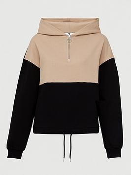 V by Very V By Very Colourblock Oversized Hoodie - Stone Black Picture
