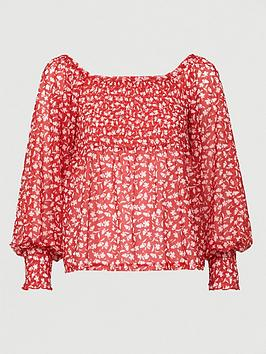 V by Very V By Very Mesh Bardot Ruched Top - Floral Print Picture