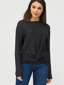 v-by-very-snit-twist-hem-detail-tunic-black