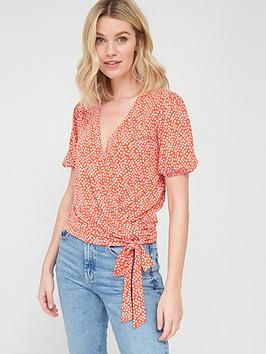 V by Very V By Very Wrap Over Tie Waist Top - Print Picture