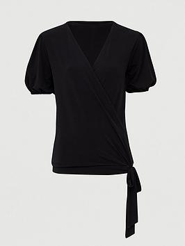 V by Very V By Very Wrap Over Tie Waist Top - Black Picture