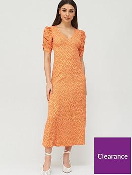 v-by-very-v-neck-ruched-sleeve-midaxi-dress-orange-spot