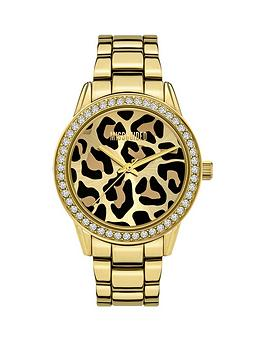 Missguided   Gold Bracelet With Leopard Glitter Printed Dial