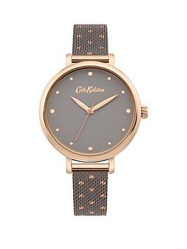 Cath Kidston Cath Kidston Watch With Grey Satin Dial And Warm Grey With Rose Gold Polka Dots Stainless Steel Mesh Strap
