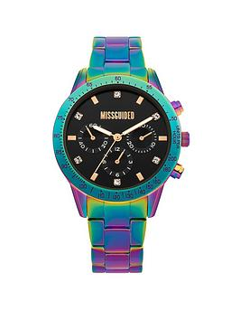 Missguided   Iridescent Bracelet With Black Look Multi Dial