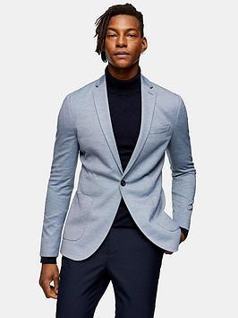 Topman Topman Skinny Fit Jersey Blazer - Blue Picture
