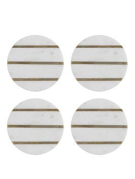 Typhoon Typhoon Elements Marble And Brass Round Coasters Picture