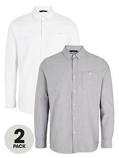 very-man-2-pack-long-sleeved-oxford-shirt-whitegrey
