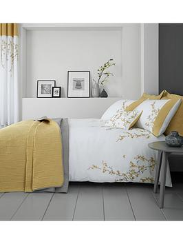 Catherine Lansfield Embroidered Blossom Duvet Cover Set In Yellow