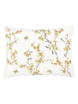 Catherine Lansfield  Embroidered Blossom Cushion - Yellow