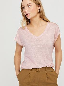 Monsoon Monsoon Liza Stitch Detail Linen T-Shirt - Blush Pink Picture