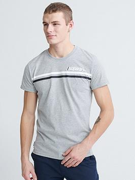 Superdry Superdry Dry Core Logo Sport Stripe T-Shirt - Grey/Marl Picture