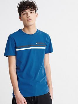 Superdry Superdry Dry Core Logo Sport Stripe T-Shirt - Blue Picture