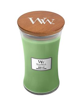 WoodWick Woodwick Large Hourglass Candle &Ndash; Hemp &Amp; Ivy Picture