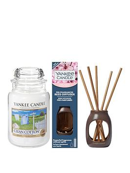 yankee-candle-clean-cotton-large-jar-candle-and-cherry-blossom-metallic-pre-fragranced-reed-diffuser-set