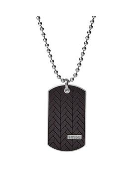 Fossil Fossil Black Bamboo Dog Tag And Stainless Steel Mens Necklace Picture