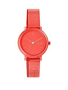 skagen-coral-dial-and-coral-transparent-pu-strap-ladies-watch