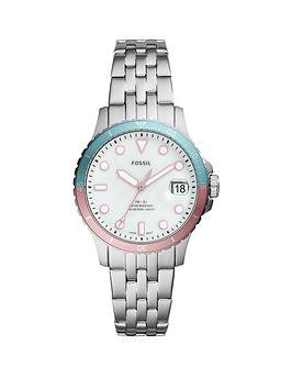 Fossil Fossil Fossil Silver With Pink And Blue Bezel Date Dial Stainless  ... Picture
