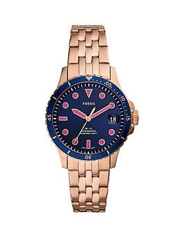 Fossil Fossil Fossil Blue Date Dial Rose Gold Stainless Steel Bracelet  ... Picture