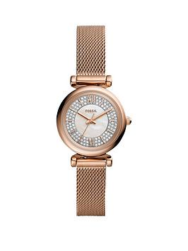Fossil Fossil Fossil Silver Glitz Mini Dial Rose Gold Stainless Steel Mesh  ... Picture