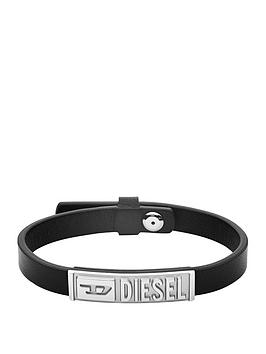 Diesel Diesel Diesel Black Leather And Stainless Steel Mens Bracelet Picture
