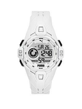 Puma Puma White Digital Dial White Pu Strap Watch