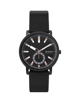 skagen Skagen Skagen Black And Red Detail Dial Black Silicone Strap Mens  ... Picture