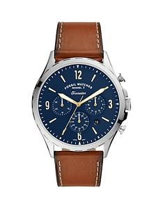 fossil-fossil-blue-chronograph-dial-tan-leather-strap-mens-watch