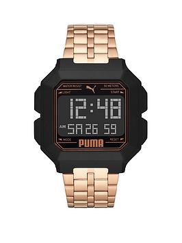 Puma Puma Black And Rose Gold Detail Digital Dial Rose Gold Alloy Bracelet Watch