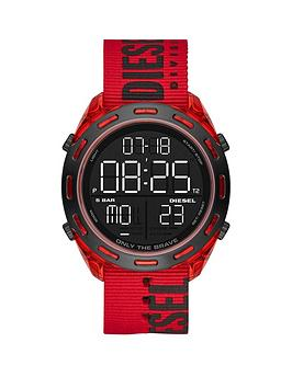diesel-crusher-digital-dial-red-case-black-branded-fabric-strap-mens-watch