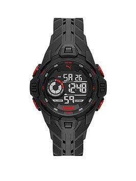 Puma Puma Puma Black And Red Detail Digital Dial Black Pu Strap Watch Picture