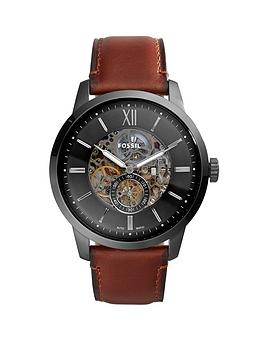 Fossil Fossil Fossil Smoke Skeleton Automatic Dial Brown Leather Strap  ... Picture