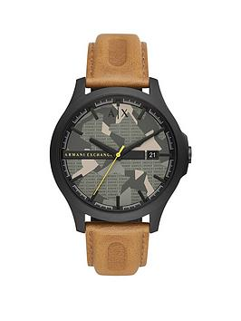 Armani Exchange Armani Exchange Hampton Brown Leather Strap Green Camo Dial Mens Watch