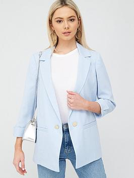 River Island River Island Turn Up Cuff Blazer - Light Blue Picture