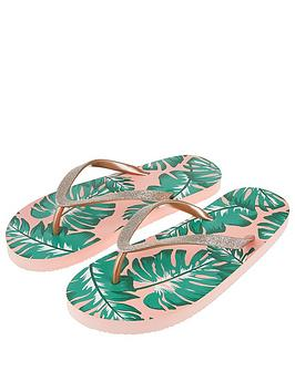 Accessorize   Palm Leaf Eva Sandals - Pink