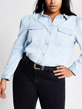 RI Plus Ri Plus Puff Sleeve Denim Shirt - Blue Picture