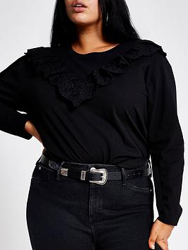 RI Plus Ri Plus Broderie Frill Long Sleeve Jersey Top - Black Picture