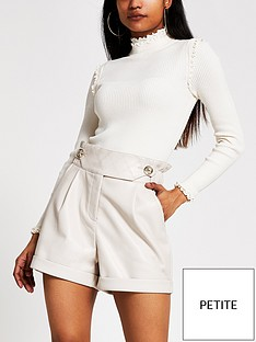 ri-petite-pu-high-waist-shorts-cream