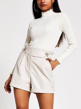 RI Petite Ri Petite Pu High Waist Shorts - Cream Picture
