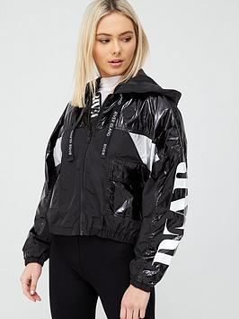 river-island-high-shine-block-print-anorak-black