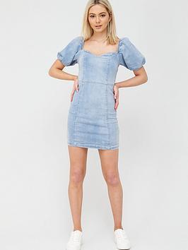 river-island-puff-sleeve-denim-mini-dress-blue