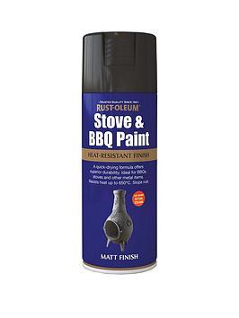 Rust-Oleum Rust-Oleum Stove & Bbq Spray Paint Black Matt 400Ml Picture